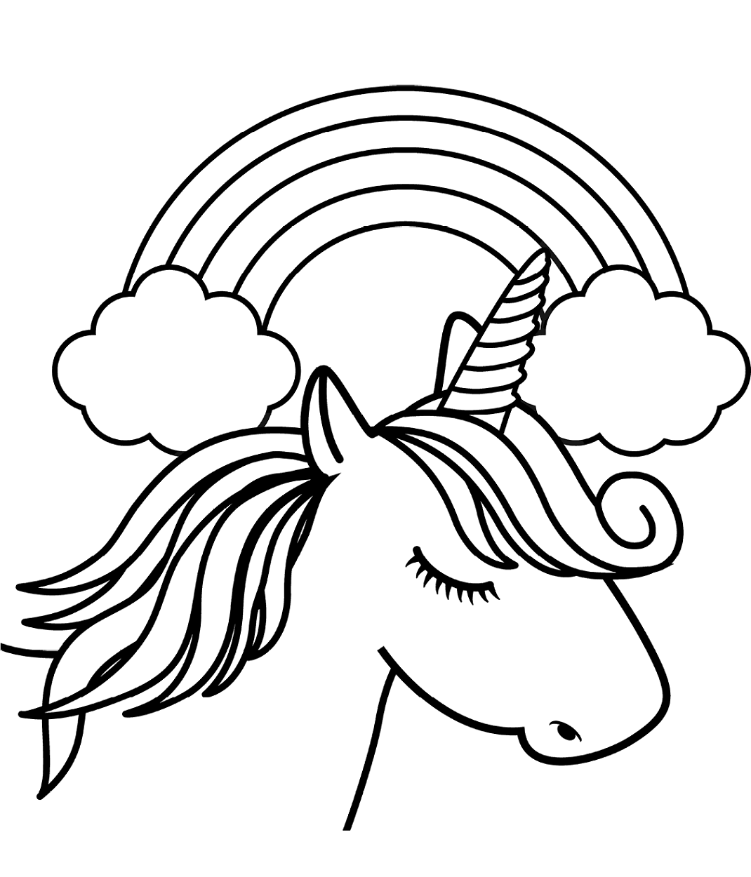 Coloring Pages Unicorn Head In Front Of Rainbow Coloring Page Free Printable Awesomees To Color