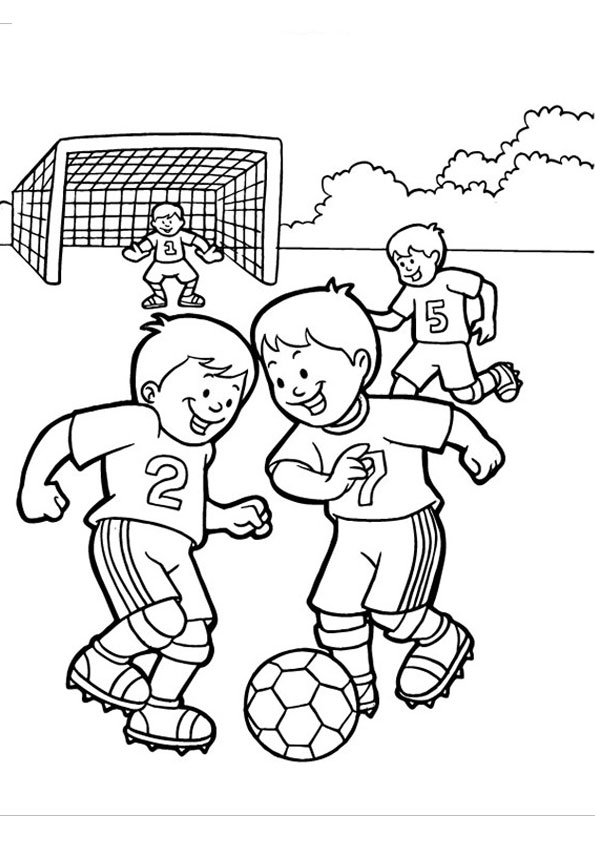 - Coloring Pages Kids Playing Football Coloring Page