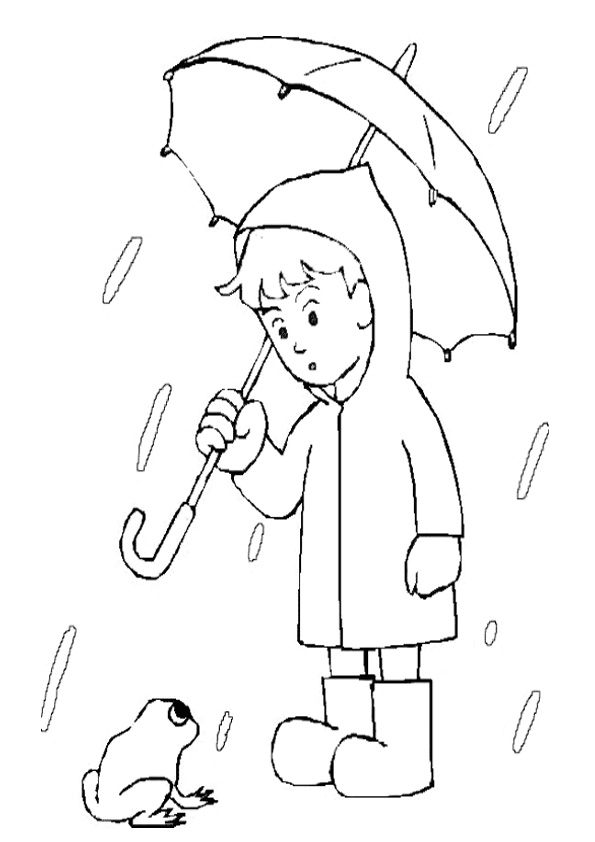 Coloring Pages Kids In Rain With Umbrella Coloring Page