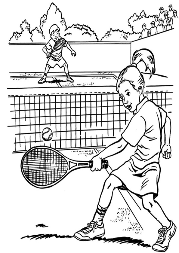 Coloring Pages Two Kids Playing Tennis Coloring Page